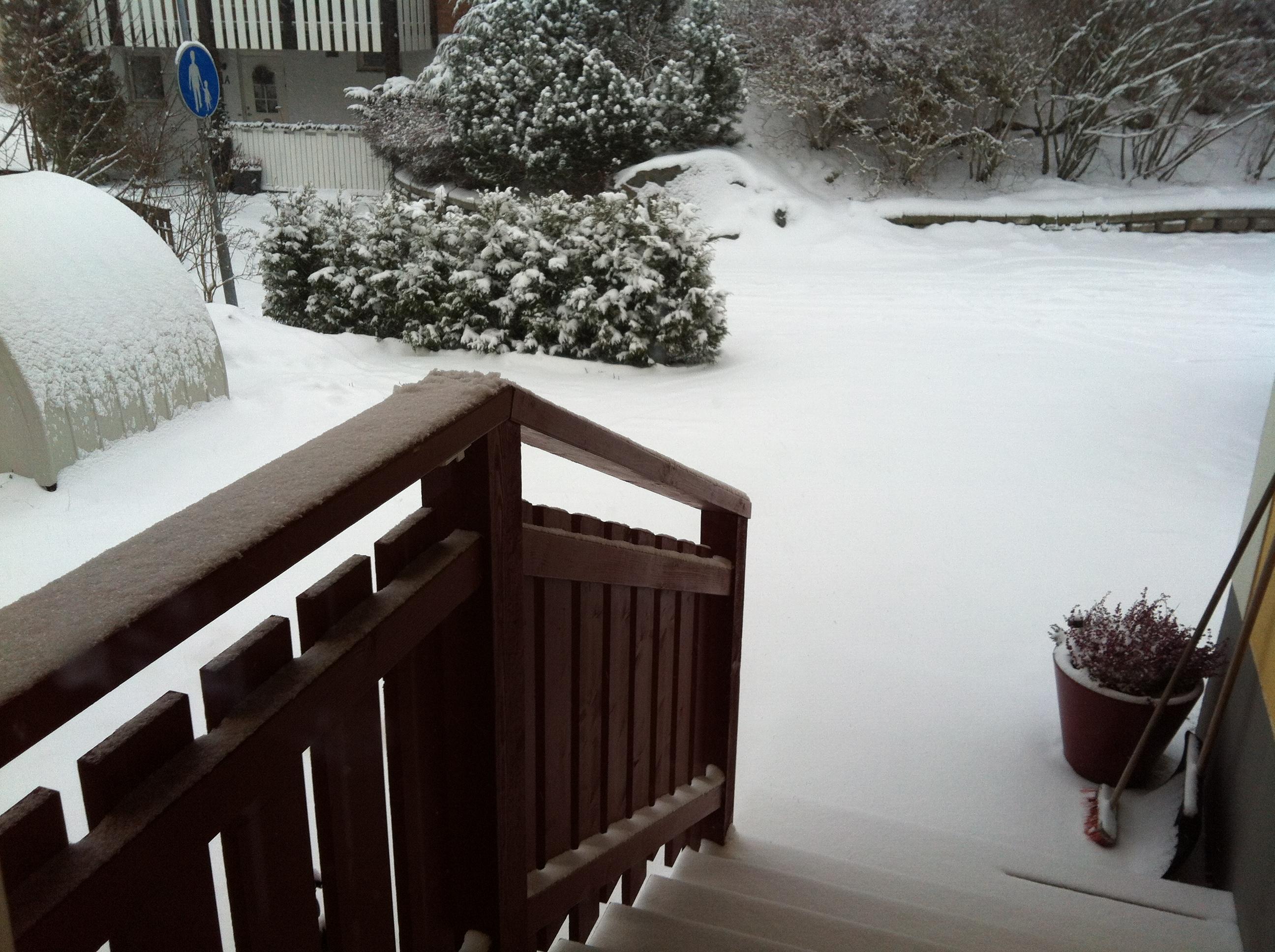 Snö på min #kaffetrapp